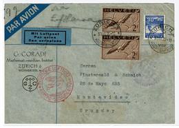 Helvetia, 1935, Zurich-Montevideo - Lettres & Documents