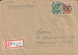 Allemagne Bizone Lettre Recommandée Singen 1948 - Bizone