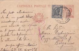 REGNO - ITALIA - S. MARIA CAPUA VETERE (CASERTA) - INTERO POSTALE - C. 30 + FR.LLI. AGGIUNTA. - V.G. PER BERGAMO - Ganzsachen