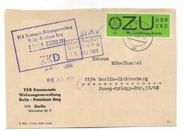 DDR,  Gut Erhaltener ZKD-Brief Mit Wertmarke Von 1965 Für Zustellungsurkunde-Zustellung - Dienstpost