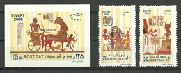 Egypt - 2000 - Set Of 2 & S/S - ( Post Day - Chariot - Pharaonic ) - MNH (**) - Ungebraucht