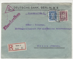 Deutsche Bank Company Letter Cover Posted Registered 1926 Berlint To Switzerland B211015 - Briefe U. Dokumente