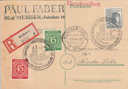 Allemagne Zone AAS Entier Postal Recommandé Meissen 1947 - Gemeinschaftsausgaben