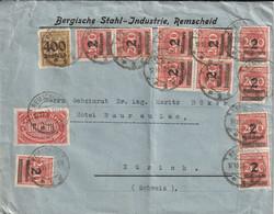 Allemagne Lettre Inflation Remscheid Pour La Suisse 1923 - Briefe U. Dokumente