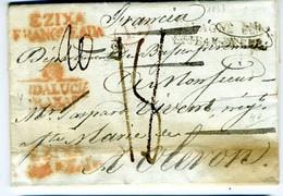 ESPAÑA 1833 De OSUNA Y EZIXA  ANDALUCIA  BAXA Carta  Hasta  OLERON   PR 124 - ...-1850 Prephilately