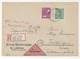 Erna Schindler, Lastau Company Letter Cover Posted Registered 1947 Lastau B211015 - Gemeinschaftsausgaben