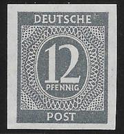 ALLIERTE BESETZUNG 1945, 12 Pfennig Ziffer Grau Breitrandig UNGEZÄHNT ** - Gemeinschaftsausgaben