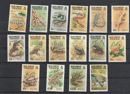 Salomon Solomon - Yvert Série 378 à 393 ** - Reptiles - Serpents Grenouilles Lézards Crocodiles .... - Solomoneilanden (1978-...)