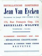 Calendrier 1952. Woluwé. Installations Sanitaires Van Eycken, Rue François Gay. - Petit Format : 1941-60