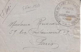 < La Chapelle En Serval Oise Défense Du Camp Retranché De Paris . Poste Aéronautique . Sur Enveloppe Lettre 5 11 1917 - Guerres