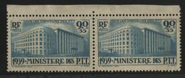 """N° 424 """"Ministère P. T. T."""" PAIRE Cote 50 € (voir Description) - Ungebraucht"""