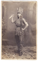 Antique Photo - PC Size - Waisman - Bucuresti - Romania - Lady In Indian Carnival Clothes Cosplay - Oud (voor 1900)