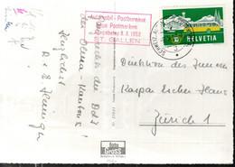 CARTE POSTALE 1953 - EMPREINTE DE MACHINE A AFFRANCHIR - BUREAU DE POSTE AUTOMOBILE SAINT GALLEN - - Cartas