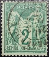 N°74 Sage 2c Vert. Cachet Du 3 Février 1877 à Châteauroux - 1876-1898 Sage (Type II)
