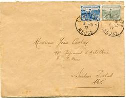 FRANCE LETTRE DEPART COMMERCY 9-10-17 MEUSE POUR LE SECTEUR POSTAL 145 - Briefe U. Dokumente