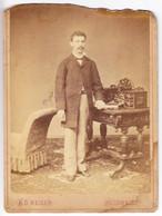Large Antique Photo - CABINET - A. D. Reiser - Bucuresci - Romania - Gentleman - Oud (voor 1900)