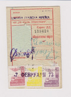 Bulgaria 1973 Sofia City Public Transport Season Ticket W/3 Revenue Stamps (m200) - Briefe U. Dokumente
