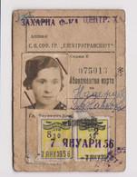Bulgaria 1956 Sofia City Public Transport Season Ticket W/2 Revenue Stamps (m659) - Briefe U. Dokumente
