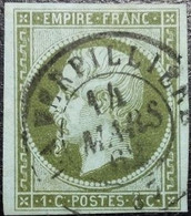 N°11 Napoléon 1c Olive. Cachet Du 14 Mars 1862 à La Verpillière - 1853-1860 Napoleon III