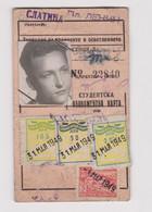 Bulgaria 1949 Sofia City Public Transport Season Ticket W/4 Revenue Stamps (m669) - Briefe U. Dokumente