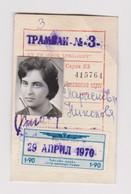 Bulgaria 1970 Sofia City Public Transport Season Ticket W/Revenue Stamp (m683) - Briefe U. Dokumente