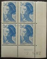 FRANCE Liberté De Gandon Coin Daté Du N°2221 Neuf ** - 1982-90 Liberté De Gandon