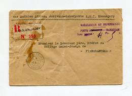 !!! MADAGASCAR, LETTRE RECO DE TANANARIVE DE 1945 AFFRANCH EN NUMERAIRE; TAXE A 4,50 F, GRIFFE VIOLETTE NON ENCADREE - Covers & Documents