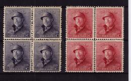 CASQUE ** / MNH N° 168 +169  En  BLOC DE 4  à   4,95 - 1919-1920 Roi Casqué