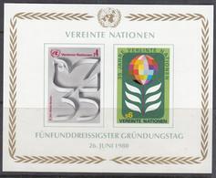 UNO WIEN  Block 1, Postfrisch **, 35 Jahre UNO, 1980 - Blocks & Kleinbögen