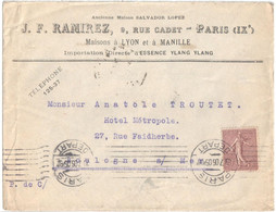 PARIS DEPART Lettre Entête RAMIREZ Importation Essence Manille 20c Semeuse Lignée Yv 131 Ob Meca Krag A00014 - Briefe U. Dokumente