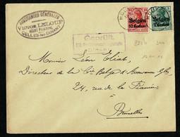 WWI ALLEMAGNE Occupation Belgique Lettre 10 + 5 Surch. BELGIEN 10 Centimes HOUYET 1918 Censure Dinant - Briefe U. Dokumente