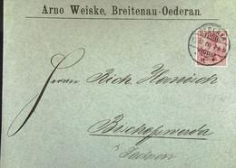 DR: Brief Mit 10 Pf Germania Vom 15.12.1900 Von Arno Weiske, BREITENA-OEDERAN An R. Hanisch, Bischofswerda (Sa.) Knr: 56 - Briefe U. Dokumente