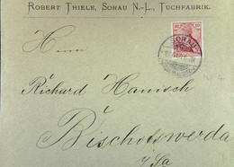 DR: Brief Mit 10 Pf Germania 27.6.1900 Von Robert Thiele, SORAU (Niederlausitz) An R. Hanisch, Bischofswerda Knr: 56 ? - Briefe U. Dokumente