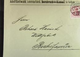 DR: Brief Mit 10 Pf Germania 21.1.1903 Von Adolf Gottwald, Lederleimfabrik Dresden An R. Hanisch, Bischofswerda Knr: 71 - Briefe U. Dokumente