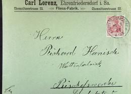 DR: Brf Mit 10 Pf Germania 22.7.1903 Von Carl Lorenz, Fliess-Fabrik Ehrenfriedersdorf An Hanisch, Bischofswerda Knr: 71 - Briefe U. Dokumente