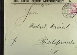 DR: Brf Mit 10 Pf Germania V.26.8.1902 Von Joh. Christ. Schöne Grossröhrsdorf I. S. An R. Hanisch, Bischofswerda Knr: 71 - Briefe U. Dokumente