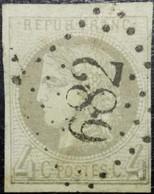 N°41B Cérès 4c Gris. Oblitéré Losange G.C. N°682 Buxy - 1870 Bordeaux Printing