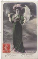 "ARTISTE .ANNÉES 1900. THÉÂTRE DU VAUDEVILLE ."" Melle WILFORD "". MODE. OMBRELLE. PHOTO D'ART BOYER. ANNEE 1908 + TEXTE - Künstler"