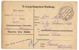 ALLEMAGNE REICH CARTE PRISONNIER DE GUERRE (KG) CHEMITZ OBLITEREE POUR LA FRANCE CENSURE - Briefe U. Dokumente