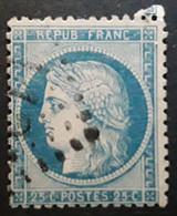 CERES No 60 Nuance BLEU CIEL VARIETE STRIES BLANCHES , Filet Mince , Obl TB - 1871-1875 Ceres