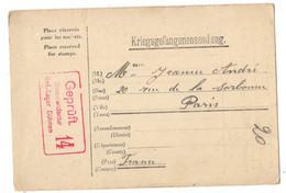 ALLEMAGNE REICH CARTE PRISONNIER DE GUERRE (KG) DULMEN OBLITEREE POUR LA FRANCE CENSURE - Briefe U. Dokumente