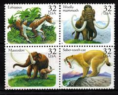 S022O - USA, 1996 - SC#: 3077-3080 - USED - PREHISTORIC ANIMALS - MAMMOTH, SABER.TOTH CAT, MASTODON, EOHIPPUS - Gebraucht