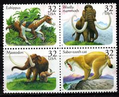 S022P - USA, 1996 - SC#: 3077-3080 - USED - PREHISTORIC ANIMALS - MAMMOTH, SABER.TOTH CAT, MASTODON, EOHIPPUS - Gebraucht
