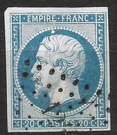 France-Yvert N°14A-Variété Suarnet N°12-Oblitéré - 1853-1860 Napoleon III