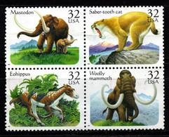 S022S - USA, 1996 - SC#: 3077-3080 - USED - PREHISTORIC ANIMALS - MAMMOTH, SABER.TOTH CAT, MASTODON, EOHIPPUS - Gebraucht