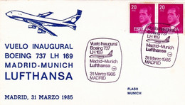 Espagne Env Lufthansa Madrid Munich 31/03/85 - 1981-90 Storia Postale