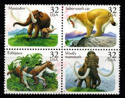 S022T - USA, 1996 - SC#: 3077-3080 - USED - PREHISTORIC ANIMALS - MAMMOTH, SABER.TOTH CAT, MASTODON, EOHIPPUS - Gebraucht