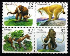 S022U - USA, 1996 - SC#: 3077-3080 - USED - PREHISTORIC ANIMALS - MAMMOTH, SABER.TOTH CAT, MASTODON, EOHIPPUS - Gebraucht
