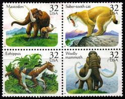 S022V - USA, 1996 - SC#: 3077-3080 - USED - PREHISTORIC ANIMALS - MAMMOTH, SABER.TOTH CAT, MASTODON, EOHIPPUS - Gebraucht
