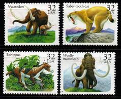 S022W - USA, 1996 - SC#: 3077-3080 - USED - PREHISTORIC ANIMALS - MAMMOTH, SABER.TOTH CAT, MASTODON, EOHIPPUS - Gebraucht